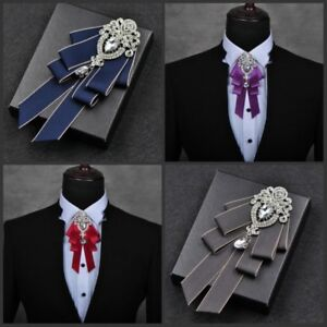 Men-Bow-Tie-Rhinestone-Crystal-Satin-Tied-Necktie-Formal-Wedding-Party-Retro-New