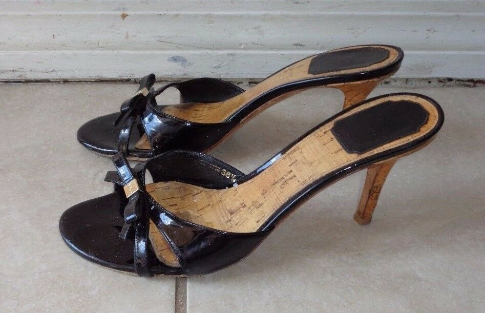 DIOR MADE schwarz PATENT LEATHER LOGO DETAIL CORK SANDALS 38.5M MADE DIOR IN ITALY 19f417