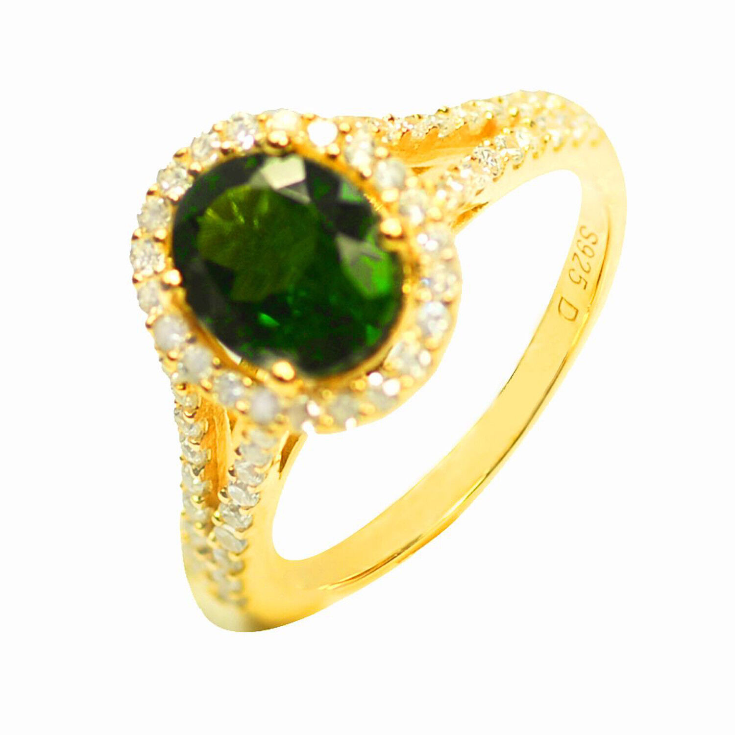 Size 7.5 De Buman 2.77ctw Chrome Diopside /& CZ Gold Plated Silver Ring