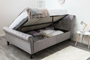 Marvelous Details About Lambeth Grey Velvet Sleigh Ottoman Double 4Ft6 Bed Frame Buttoned Scroll Ibusinesslaw Wood Chair Design Ideas Ibusinesslaworg