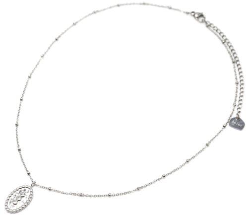 CC2618F Collier Chaîne Boules avec Ovale Martelé Triple Points Acier Argenté