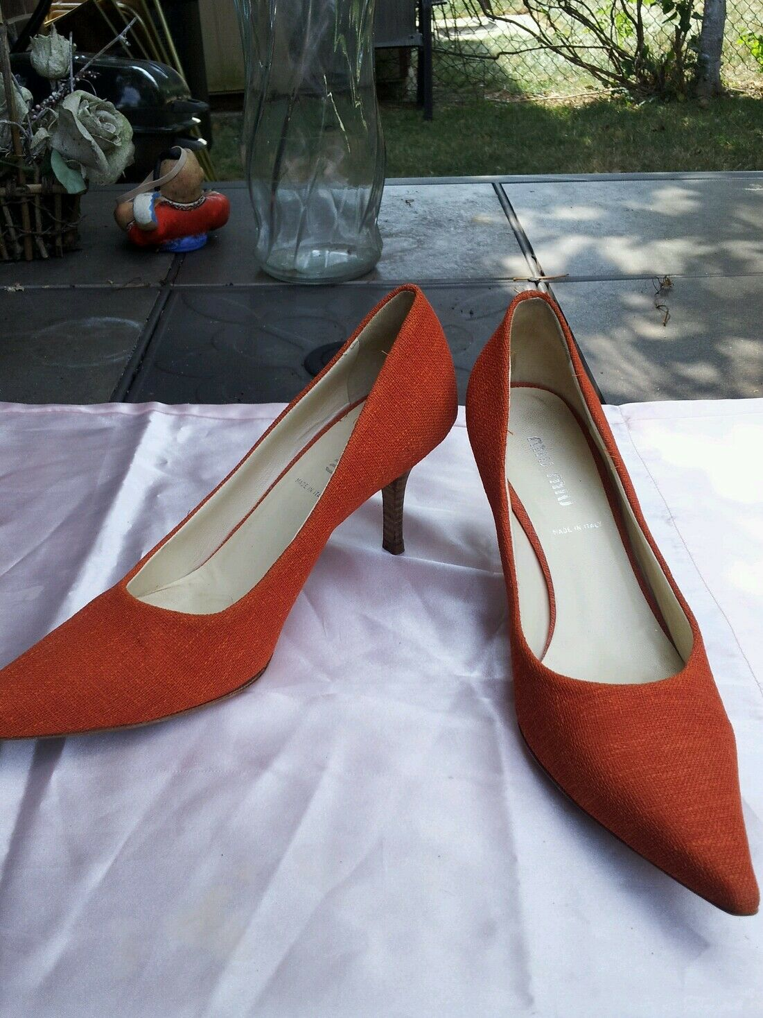 MIU MIU women's orange fabric shoes sz.36.5 6.5 US made in