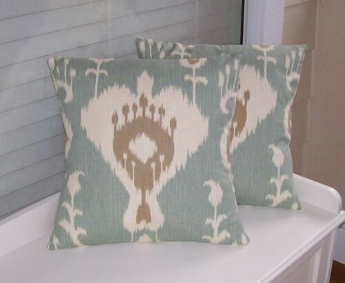 Ivory on Blue-Green 100/% Cotton Ikat Tan Drapery Upholstery Fabric 6 oz