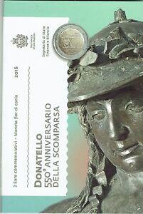 """SAN MARINO folder ufficiale 2016 2 euro """"DONATELLO 550° ann. della morte"""" FDC"""