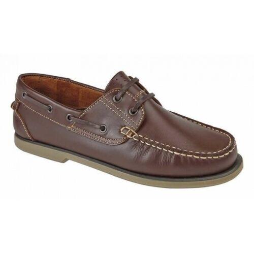 DEK RIVER para Hombre Cordones Casuales Mocasín Mocasín Cuero Zapatos Náuticos Marrón
