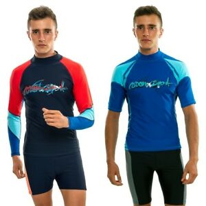 Men Rash Guard Short Sleeves Surf Wear Swimming Blue Surfing Vest Swim  Shirts | eBay