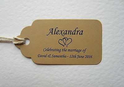 Personalised BROWN Wedding Place Cards Tags Table Guest Names Favour Gift Party