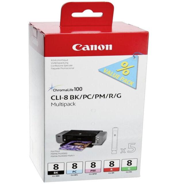 GENUINE CANON PIXMA CLI-8 BK/PC/PM/R/G - 5 COLOUR INK CARTRIDGE MULTIPACK