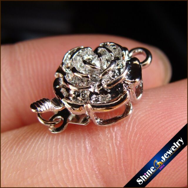 Wholesale 5 / 10 / 20 pcs Silver Plated Rose Flower Box Clasps 16X11mm FINDINGS