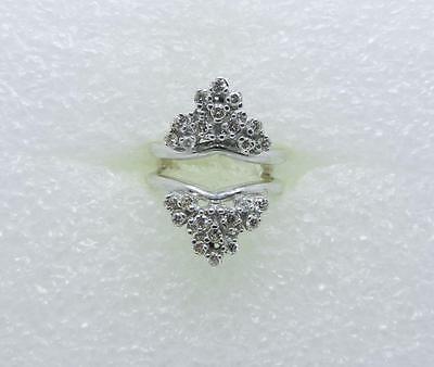 VINTAGE 14K WHITE GOLD DIAMOND RING GUARD ENHANCER - SIZE 6 75 - LB2754 |  eBay