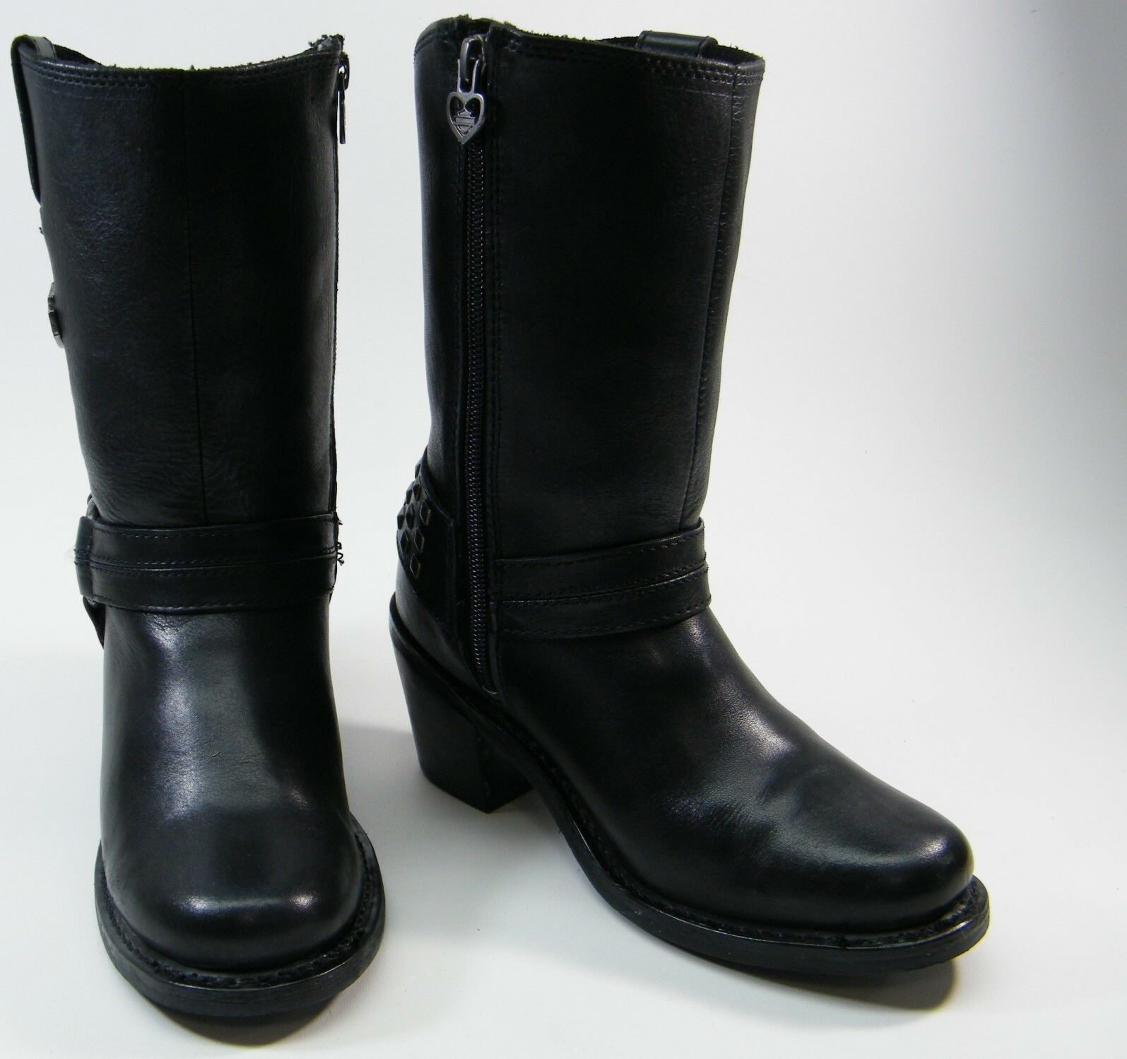 HARLEY DAVIDSON MYLIE 85161 BLK LEATHER MOTORCYCLE HARNESS ZIP STUDS BOOTS SZ 6