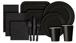 Christmas-Black-Solid-Colour-Paper-Tableware-Plates-Napkins-Cups