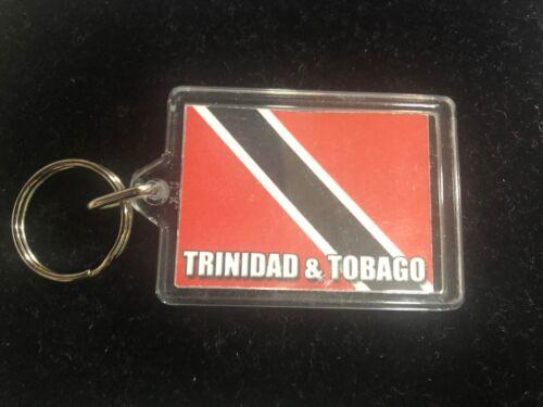 TRINIDAD /& TOBAGO FLAG PLASTIC KEY RING FOB REGGAE ROOTS 5cm x 4cm