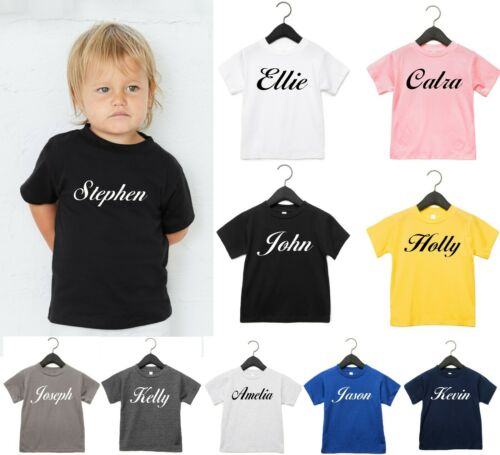 Personalised Toddler Jersey Short Sleeve T-Shirt Add Baby Name Birthday Kids Top