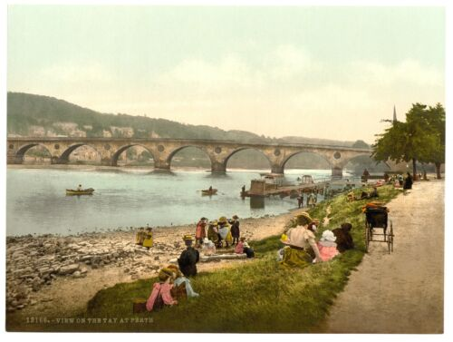 Perth View on the Tay Scotland Railway Vintage Retro Oldschool