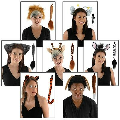 Animal Ears Headband & Tail Set Adult/Kids Halloween Costume Acsry Fancy Dress