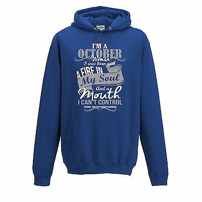 """/"""" Birthday Month Slogan Hoodie /"""" I/'m A October Woman..."""