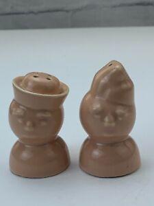"Vintage Porcelain Human Head Salt And Pepper Shaker Figurine home Decor 3"" Tall"