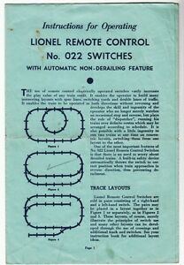 43544-1949-LIONEL-REMOTE-CONTROL-SWITCHES-No-022-OPERATING-INSTRUCTIONS