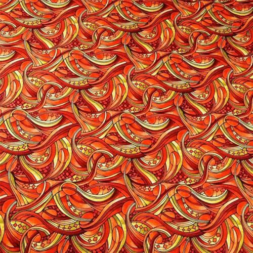 Fabric Freedom Cotton Per Yard Swirling Abstract in Orange /& Pale Olive Green