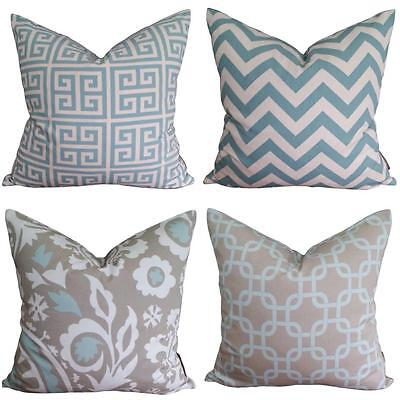 NEW Taupe Teal Blue Chevron Cotton Vintage Retro Designer Cushion Pillow Cover