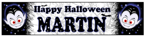 PERSONALISED BANNER NAME BIRTHDAY PARTY HALLOWEEN FRANKENSTEIN WITCH DRACULA U2