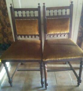 4 Sedie Antiche.Dettagli Su Set 4 Sedie Antiche In Legno Lavorato Con Cuscini In Velluto