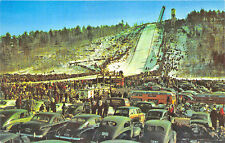Iron Mountain MI artifical ski jumping hill Old Cars Postcard