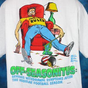 vintage-90s-OFF-SEASONITUS-FOOTBALL-JOKE-CARTOON-T-Shirt-XL-couch-potato-hip-hop