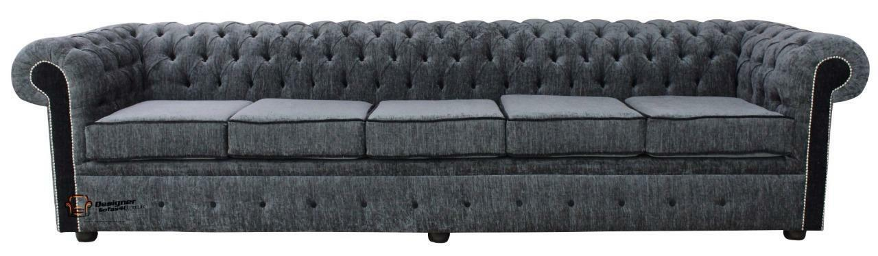 d7a1995f80111 Chesterfield 5 Seater Settee Carlton Charcoal And Black Fabric Sofa Settee  SS