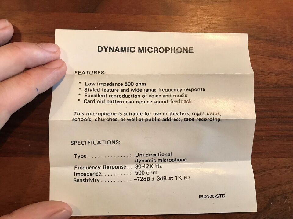 500 Ohm Uni-directional Dynamisk Mikrofon, Soligor