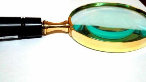 "Magnifying Glass Brass Bone Handle Reading Glass Desk Magnifier Handheld 10/"""