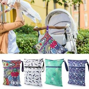 Waterproof Washable Baby Cloth Diaper Wet//Dry Bags with Zippered Pockets