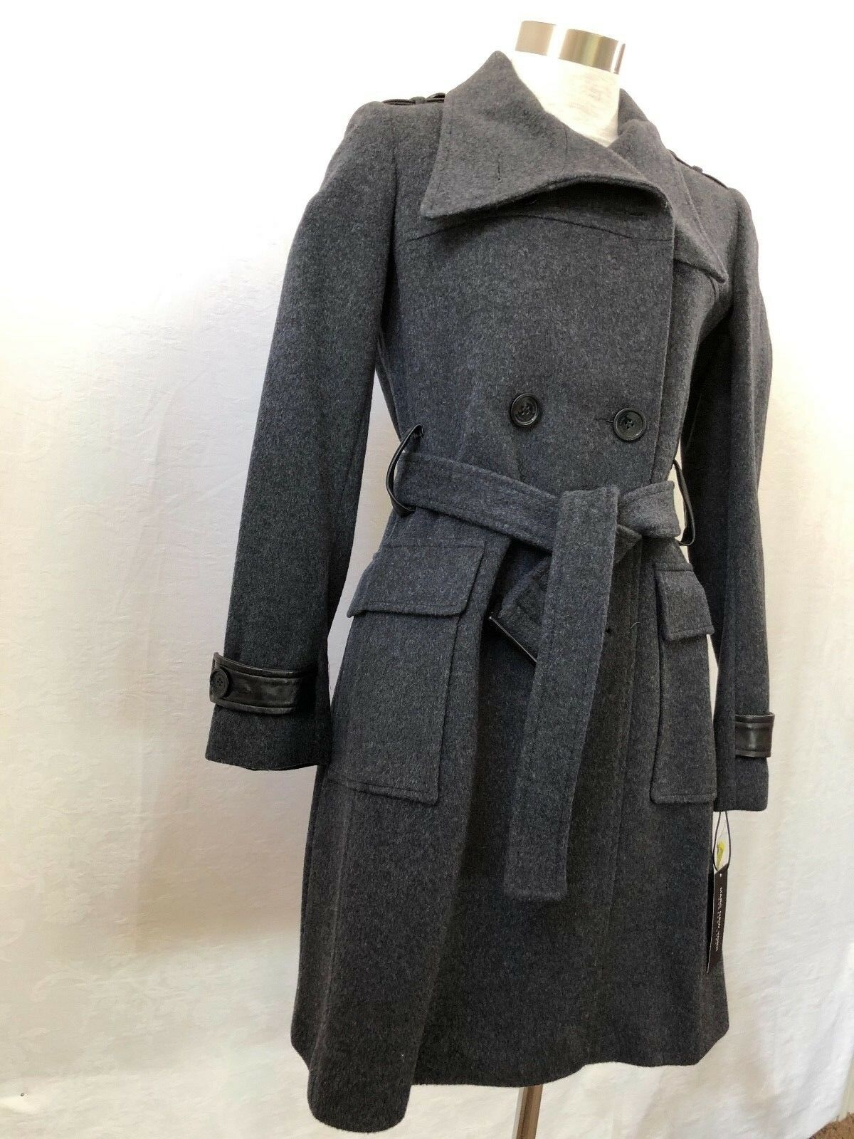 NWT Marc New York Andrew Marc GREY Cashmere Wool Blend Lined Belted Coat Size 6