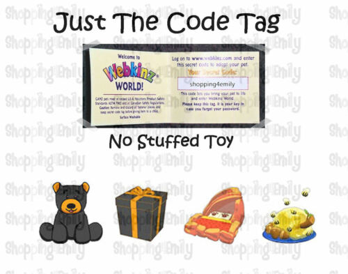 Webkinz Black Bear ( unused code tag only ) !CREDIBLE Proven Seller!