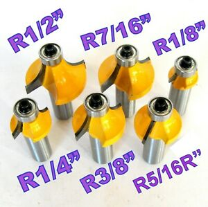 6pc 1/2 SH 1/2, 7/16, 3/8, 5/16, 1/4, 1/8 Rad. Round Over Router Bit Set S