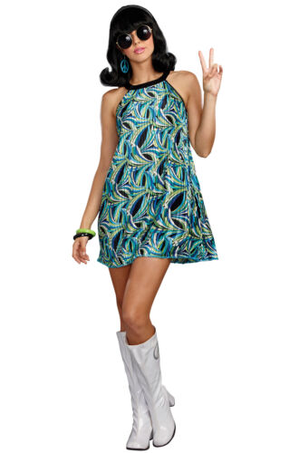 Brand New 1960s Hippie Flower Peace Love The Beat Goes On Adult Costume
