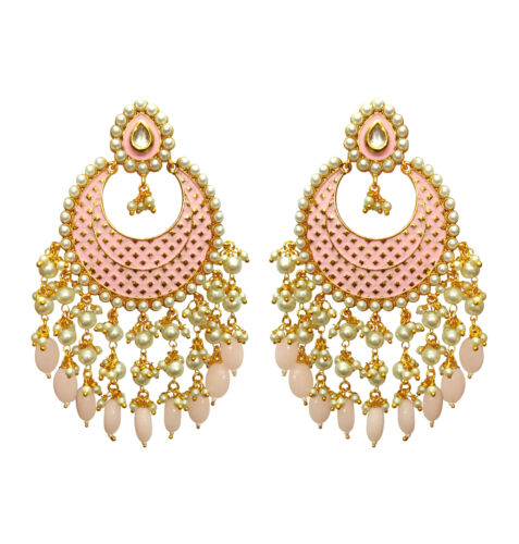 Babosa Sakhi Meenakari Earring Indian Baby Pink Meena Work Polki Jadau Work Bo8