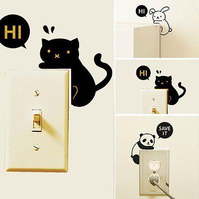 Cute Cartoon Animals Light Switch Sticker Wall Stickers Vinyl Decor Home Decals