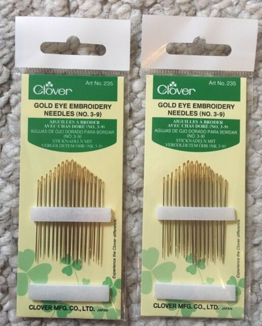 CLOVER 235 No Pack of 16 3-9 Gold Eye Embroidery Needles New
