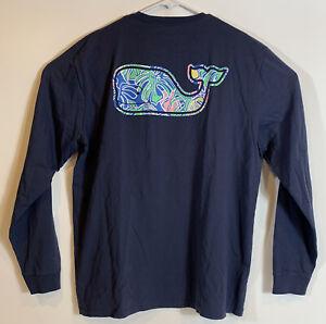 VINEYARD-VINES-Men-s-L-S-Pocket-T-Shirt-Navy-Colorful-Tropics-Whale-Sz-L-NEW