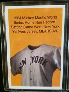on sale a6db5 50fce Details about 2019 HERITAGE AUCTIONS '1964 Mickey Mantle WS Game Worn  Jersey' NSCC promo card