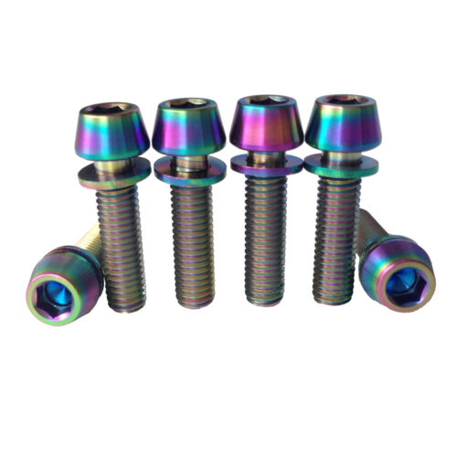 6 Pcs Colorful M5X20 Aerospace Allen Hex Cap Bicycle Bike Ti Bolts Screw Washer