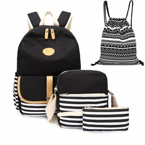 Image is loading 4pcs-Canvas-Backpack-Cute-Lightweight-Teen-Girls-Backpacks- db2821174f422