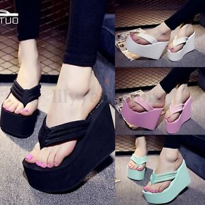 Women-Wedge-Flip-Flops-Thick-Platform-High-Heel-Slippers-Thong-Sandals-Shoes-NEW