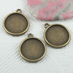 60pcs antiqued bronze color Single-side round  cabochon setting in 10mm EF2950