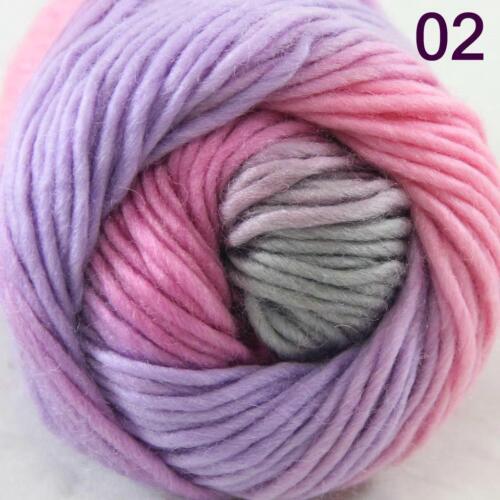 AIP Sale 1 Skein x50g Rainbows Coarse Hand Knit Quick Wool Yarn Shawl Scarves 02