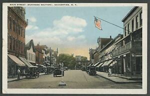Saugerties-Ulster-Co-NY-c-1920-Postcard-MAIN-STREET-BUSINESS-SECTION-Stores