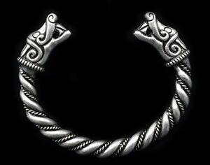 Antique-Silver-Men-039-s-Handmade-Norse-Viking-Dragon-Open-Cuff-Bangle-Bracelet