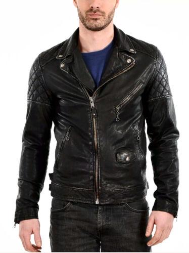 Men Leather Jacket Motorcycle Black Slim fit Biker Genuine Real lambskin jacket